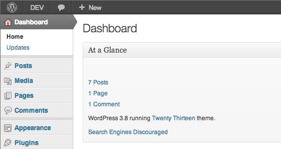 Klasyczny wygląd panelu administracyjnego wordpress