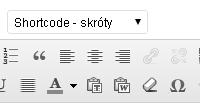 Rozwijane menu z lista tzw. shortecode (skrótów)
