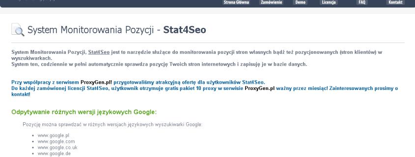 Stat4Seo - system monitorowania pozycji