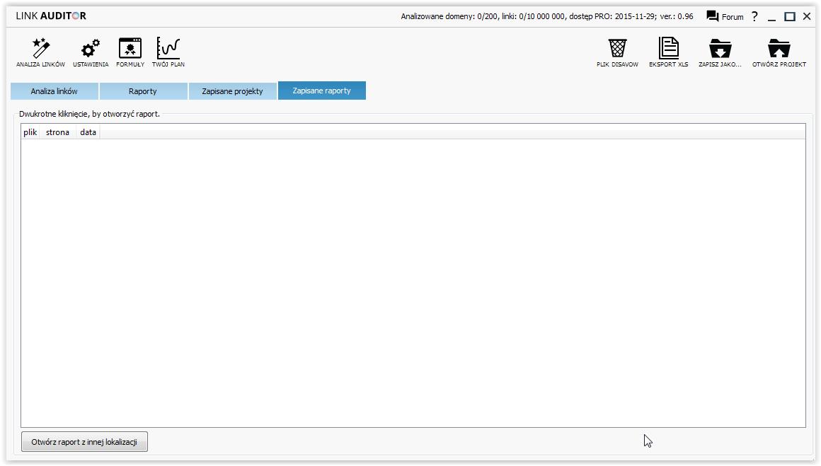 link auditor - ekran główny